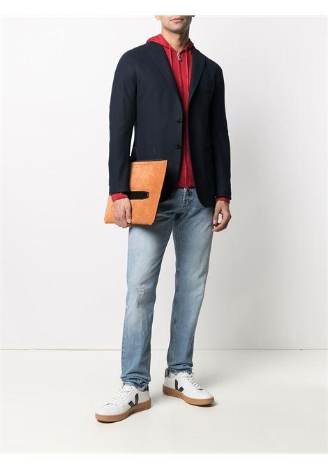 Red wool drawstring hood sweatshirt featuring front zip fastening ELEVENTY |  | C76MAGC76-MAT0C00318