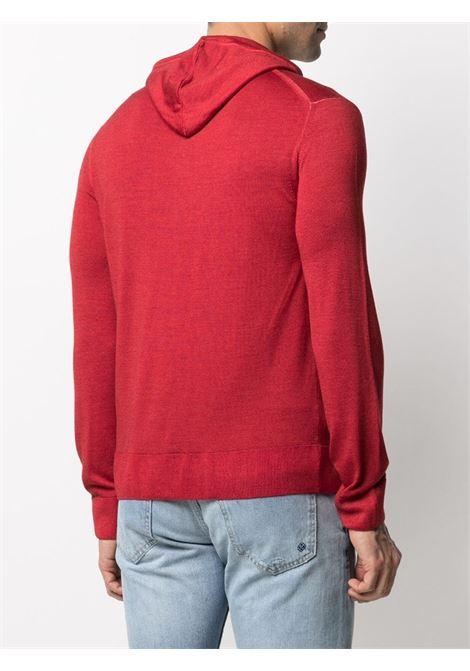 Felpa rossa in lana con cappuccio con coulisse ELEVENTY | Cardigan | C76MAGC76-MAT0C00318