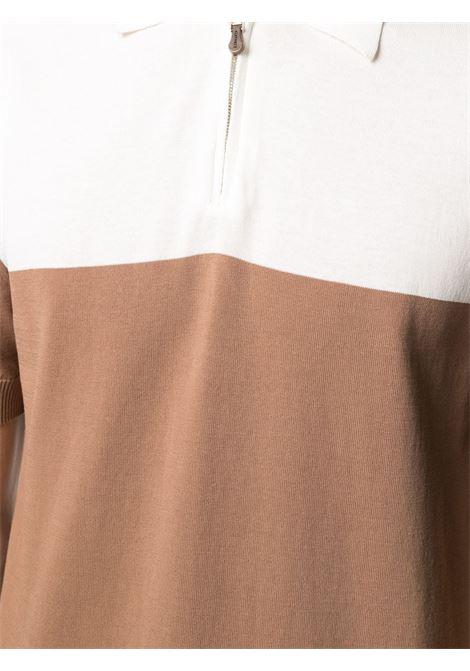 Polo a maniche corte in cotone bianco e beige a blocchi di colore ELEVENTY | Maglieria | C76MAGC82-MAG0C01401-04