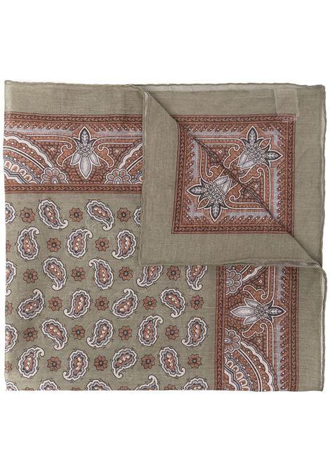 Sage green cotton paisley-print scarf ELEVENTY      C77ACCC01-TES0C10607