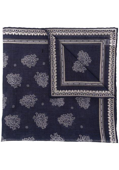 Navy blue cotton paisley-print scarf ELEVENTY      C77ACCC01-TES0C10711