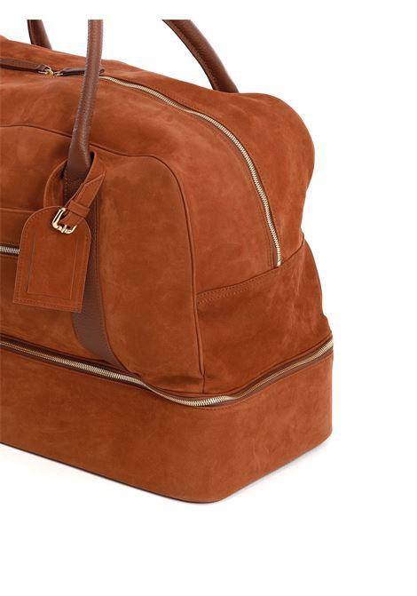 Borsone con zip in pelle di cervo color cammello ELEVENTY | Borse da viaggio | C77BORC01-PEL0C01704