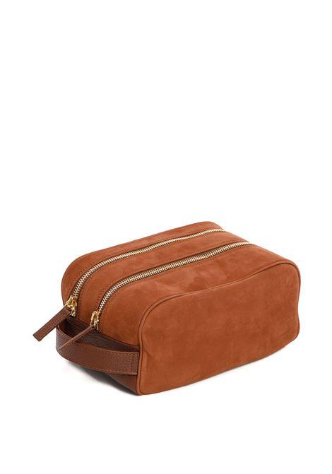 Beauty case a doppio scomparto in pelle di vitello marrone ELEVENTY | Beauty | C77BORC05-PEL0C01704