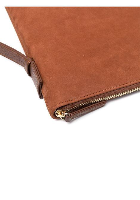 Borsa per laptop con zip in pelle di cervo marrone ELEVENTY | Porta Documenti | C77BORC06-PEL0C01704
