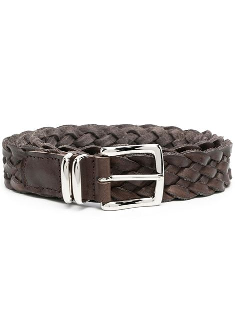 Brown leather and metal 3cm braided belt  ELEVENTY |  | C77CINC05-PEL0C01305