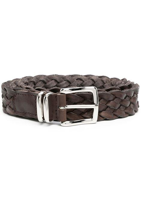 Cintura intrecciata da 3 cm in pelle marrone e metallo ELEVENTY | Cinture | C77CINC05-PEL0C01305