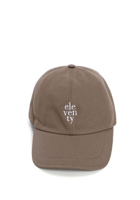 Cappellino taupe con logo Eleventy bianco ricamato ELEVENTY | Cappelli | C77CPLC01-TES0C16107