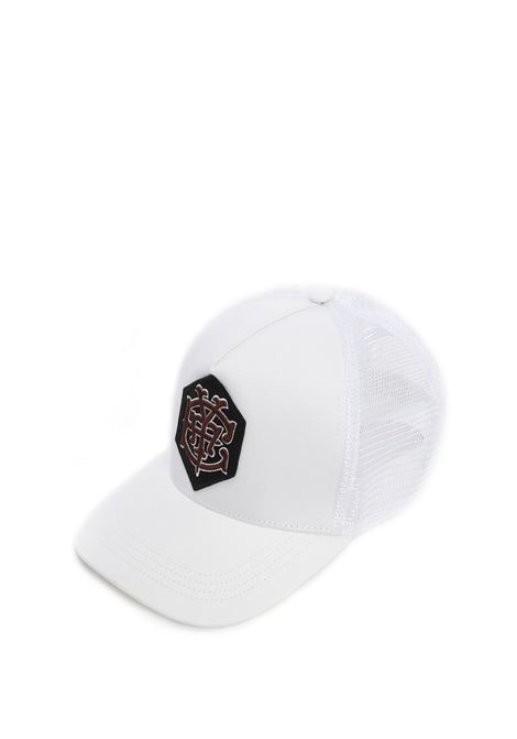 white cotton sheer motif cap featuring Eleventy embroidered motif ELEVENTY |  | C77CPLC03-TES0C16101