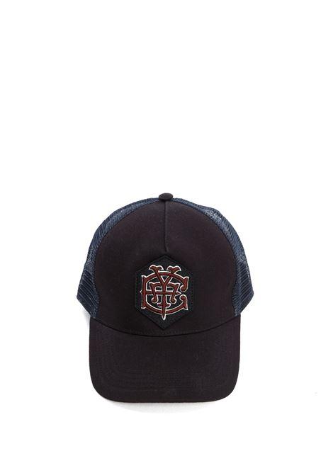Cappellino in rete e cotone blu con patch Eleventy rosso ELEVENTY | Cappelli | C77CPLC03-TES0C16111