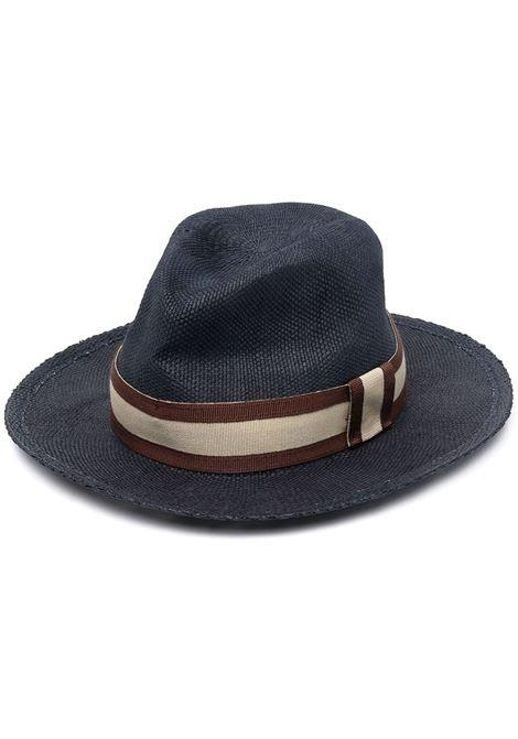 Cappello fedora blu navy, marrone e beige in cotone ELEVENTY | Cappelli | C77CPLC04-TES0C16211