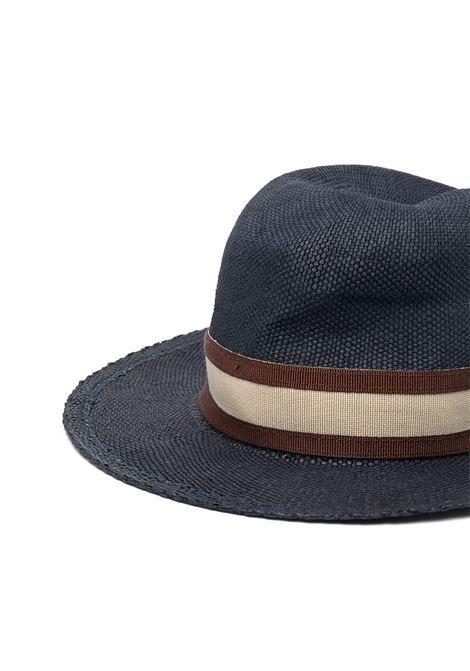 Navy-blue, brown and beige cotton stripe-print fedora hat  ELEVENTY |  | C77CPLC04-TES0C16211