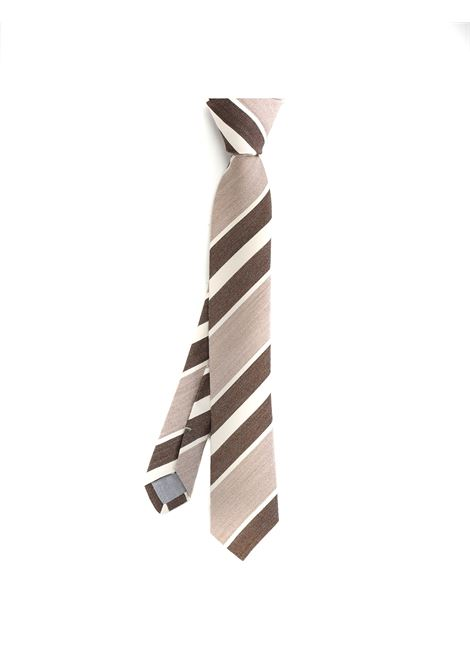 Tonal brown silk and cotton diagonal-stripe tie  ELEVENTY |  | C77CRAA01-CRA0C03003