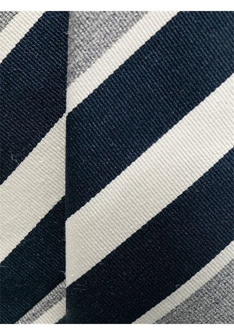 Navy blue, grey and white cotton and silk tie ELEVENTY |  | C77CRAA01-CRA0C03011
