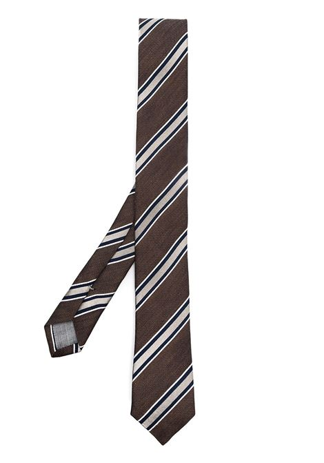 Brown silk and linen diagonal-stripe tie  ELEVENTY |  | C77CRAA01-CRA0C03105