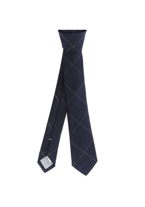 Cravatta blu in lino fantasia check ELEVENTY | Cravatte | C77CRAA01-CRA0C03211