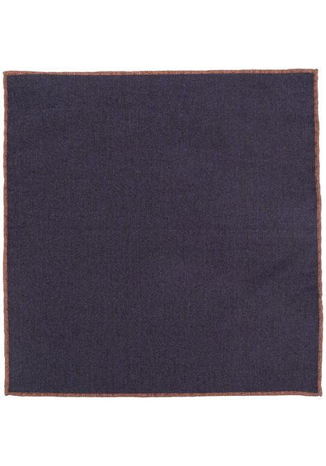 Pochette in lana blu con bordo marrone a contrasto ELEVENTY | Pochette | C77POCA01-TES0C09511