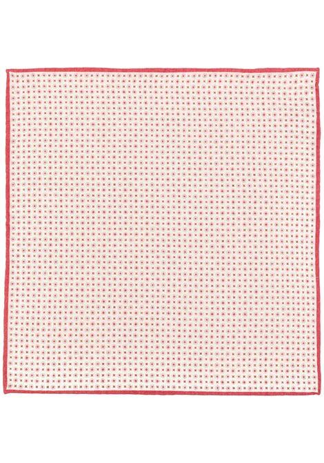 fazzoletto da taschino in misto lana beige e rosso ELEVENTY | Pochette | C77POCA01-TES0C09618
