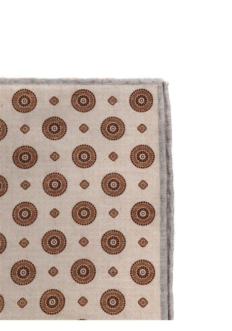 Fazzoletto da taschino di lana in fantasia beige 33x33 ELEVENTY | Pochette | C77POCA01-TES0C09702