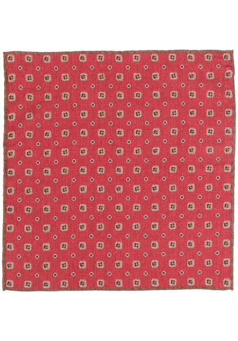 Red wool-blend patterned floral print 33x33 handkerchief ELEVENTY |  | C77POCA01-TES0C10218