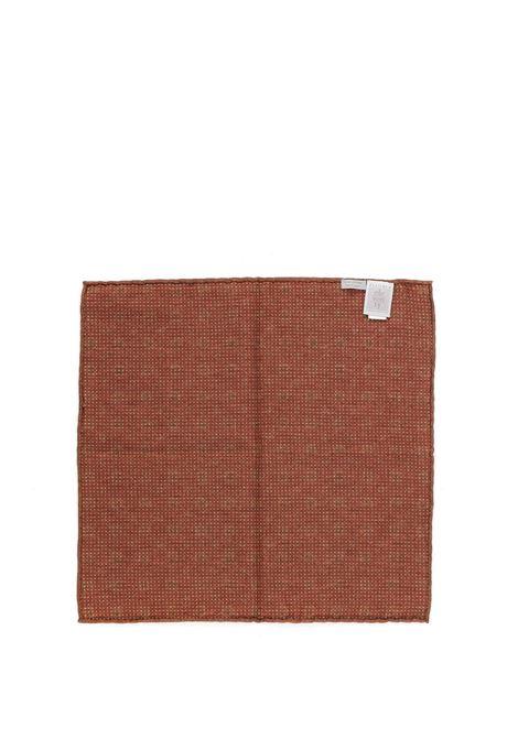 Fazzoletto da taschino in misto lana e cotone 33x33 rosso in stampa floreale ELEVENTY | Pochette | C77POCA01-TES0C10218
