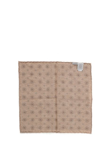Fazzoletto da taschino in lana beige 33x33 in fantasia floreale ELEVENTY | Pochette | C77POCA01-TES0C10302