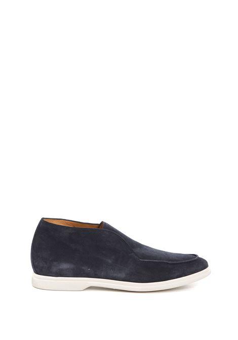 Mocassini in camoscio e pelle blu navy con suola piatta in gomma bianca ELEVENTY | Mocassini | C77SCAC03-SCA0C00811