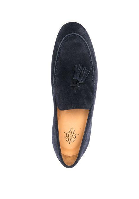 Mocassini blu navy in camoscio e pelle con nappine ELEVENTY | Mocassini | C77SCAC04-SCA0C00811