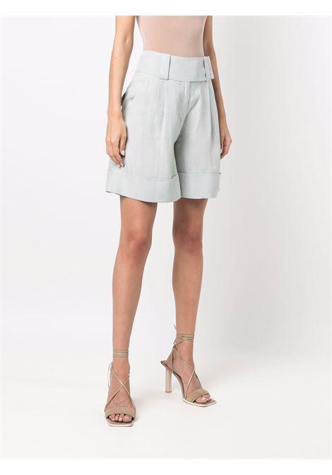 Shorts sartoriali a vita alta in lino azzurro con gamba dritta ELEVENTY | Shorts | C80BERC01-TES0C19768