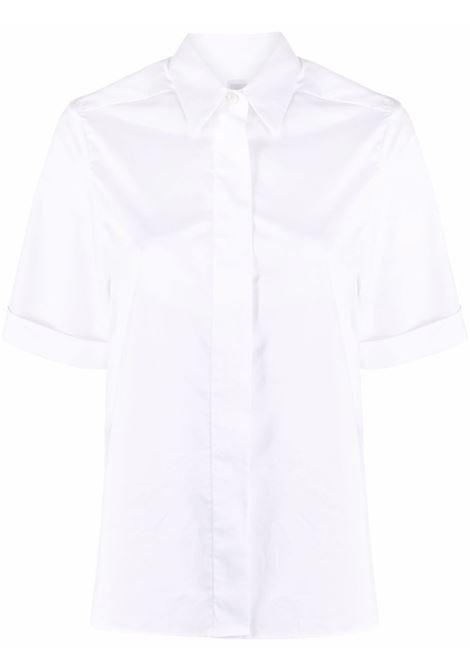 Camicia a maniche corte in cotone bianco con abbottonatura nascosta ELEVENTY | Camicie | C80CAMC04-TES0B23201