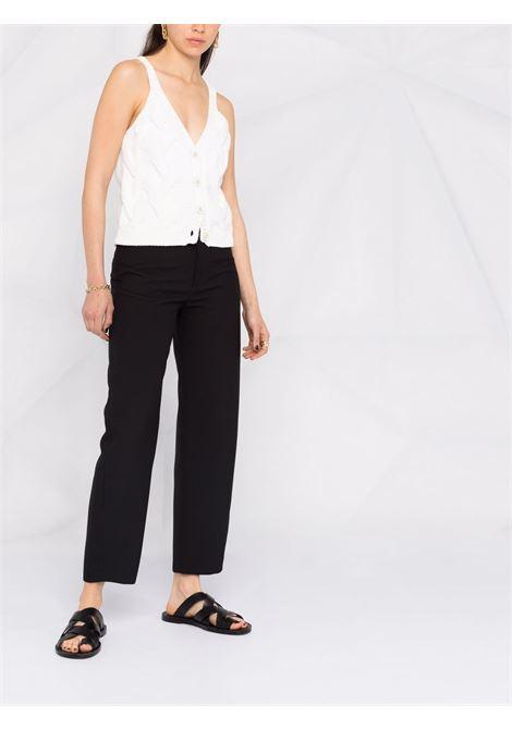 Top smanicato in maglia di cotone bianco con bottoni ELEVENTY | Gilet | C81MAGC05-MAG0C07301