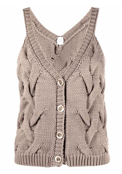 grey cotton sleeveless knitted button-up top featuring ribbed-knit edge ELEVENTY |  | C81MAGC05-MAG0C07320