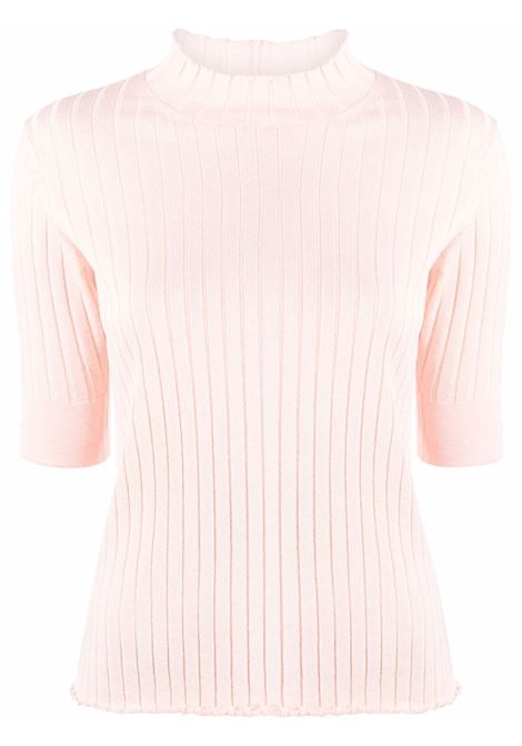 Top rosa chiaro in maglia a maniche corte con lavorazione a coste ELEVENTY | T-shirt | C81MAGC21-MAG0C06695