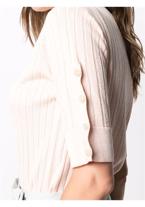 Light pink short-sleeve knit top featuring ribbed knit ELEVENTY |  | C81MAGC21-MAG0C06695