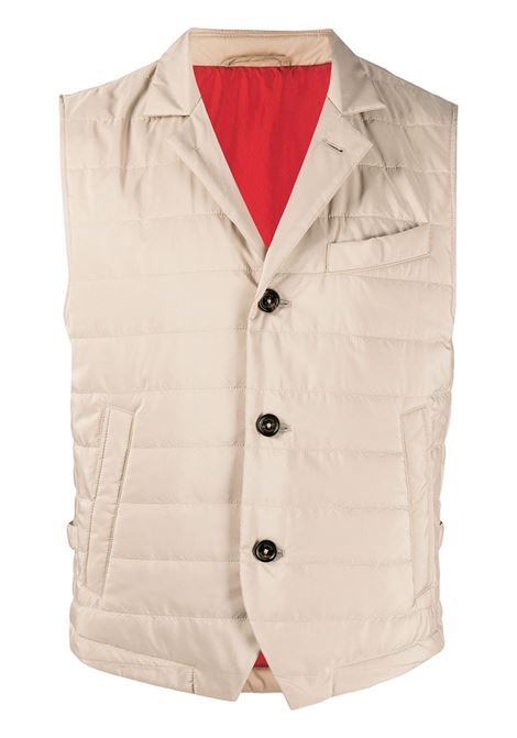 Oatmeal-beige padded buttoned-up gilet  ELEVENTY |  | G70GILC10-TES0C19202
