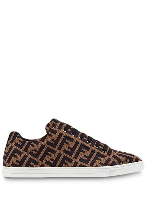 sneakers con motivo FF all over marroni e nere in rete FENDI | Sneakers | 7E1258-A7MYF0R7R