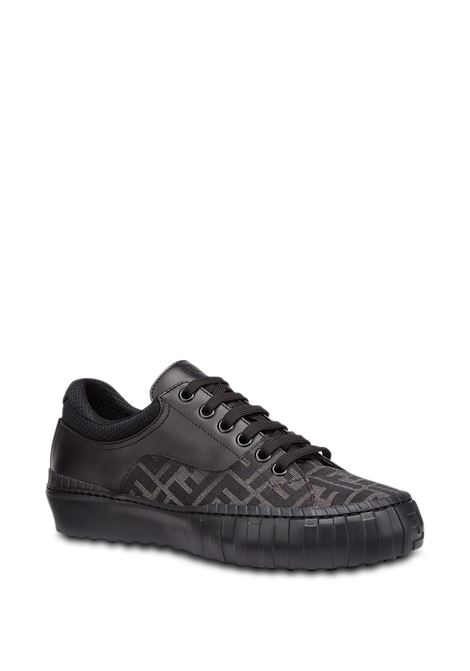 black and tobacco-brown calf leather panelled FF-motif sneakers  FENDI |  | 7E1415-AF5CF1BO6
