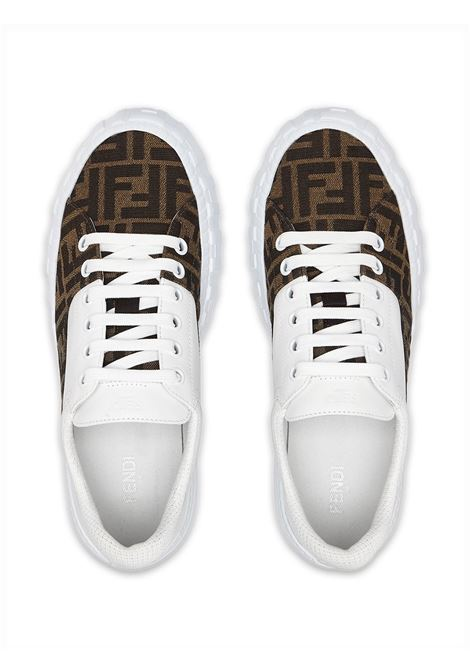 White and tobacco-brown calf leather panelled FF-motif sneakers  FENDI |  | 7E1415-AF5CF1DV2