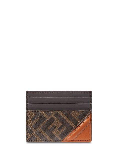 Portacarte a pannelli FF in pelle di vitello marrone scuro e arancione FENDI | Portacarte | 7M0164-AFB4F1DZA