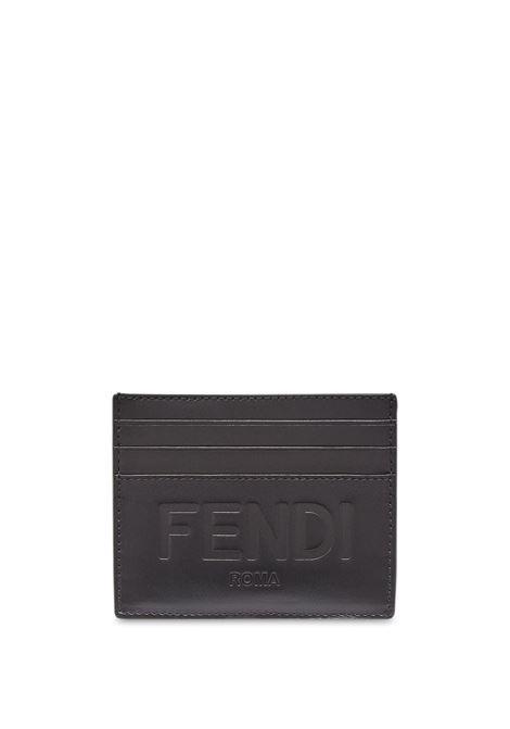 Portacarte in pelle di vitello nero con logo Fendi FENDI | Portacarte | 7M0164-AFCLF0GXN