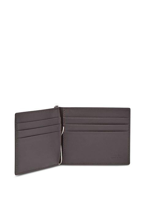 Portafoglio sottile con fermasoldi in tela marrone tabacco con motivo FF e pelle di vitello arancione FENDI | Portafogli | 7M0281-AFB4F1DZA