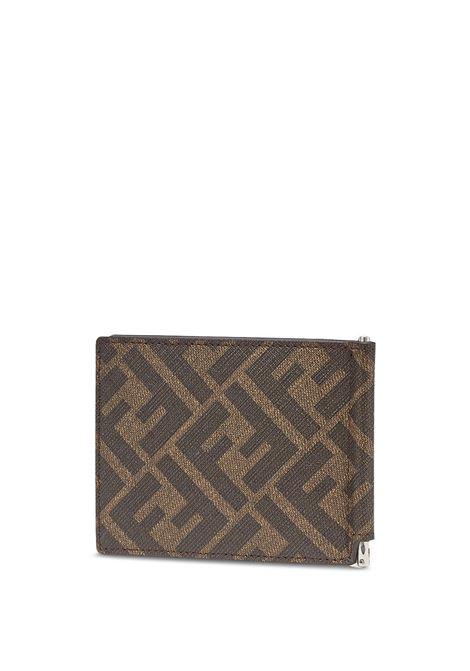Tobacco brown and orange canvas and calf leather FF motif money-clip slim wallet  FENDI |  | 7M0281-AFB4F1DZA
