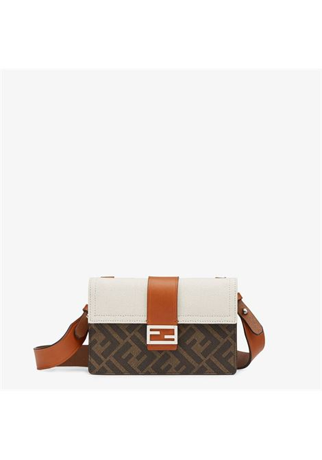 mini Baguette pouch in brown canvas with Fendi FF logo FENDI |  | 7M0295-AFSCF1EG7