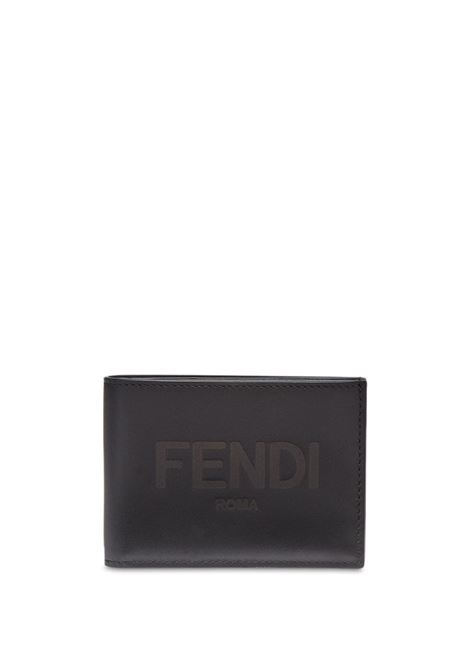 Black calf leather raised-logo bi-fold wallet  FENDI |  | 7M0303-AFCLF0GXN