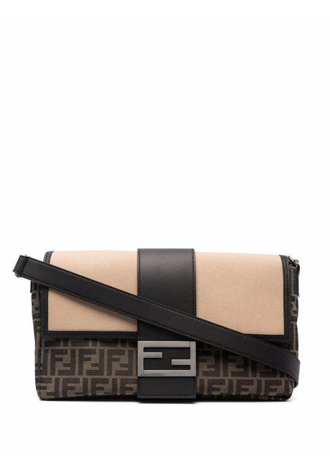 Baguette in pelle nera e canvas con stampa FF marrone e beige FENDI | Borse a tracolla | 7VA478-AFBMF1DZY