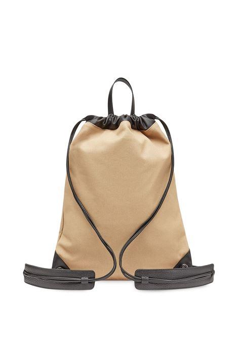 Camel brown and black cotton flocked Fendi logo drawstring backpack  FENDI |  | 7VZ057-AFBDF1DZQ