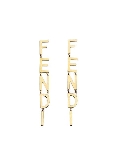 Orecchini pendenti con logo lettering Fendi color oro con FENDI | Orecchini | 8AH031-B08F1CHL