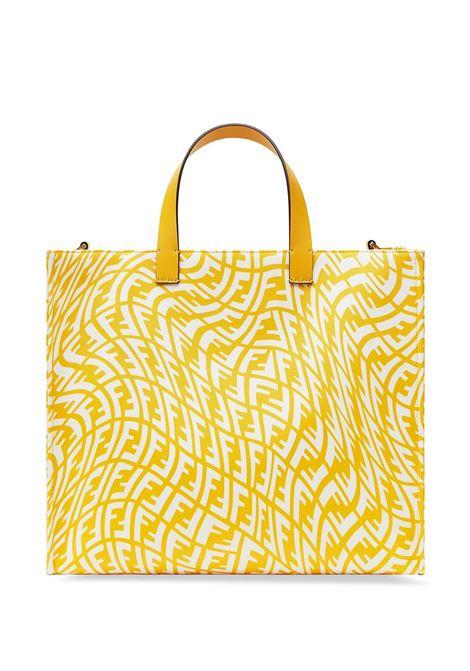 Borsa tote piccola in tela  con stampa FF Fendi Vertigo gialla e bianca FENDI | Borse tote | 8BH357-AFP4F1EEC