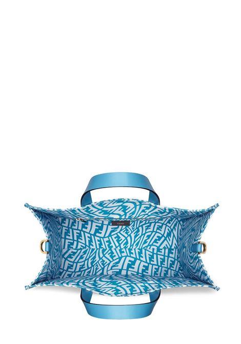 Borsa tote piccola in tela con stampa FF Fendi Vertigo blu e bianca FENDI | Borse tote | 8BH357-AFP4F1EED