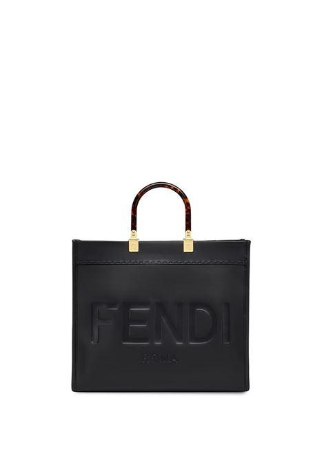 Borsa Sunshine in pelle nera con logo Fendi impresso FENDI | Tote | 8BH386-ABVLF0KUR