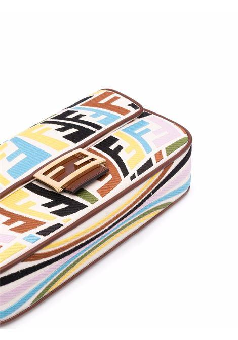 Borsa a tracolla Baguette media in tessuto multicolore FENDI | Borse a tracolla | 8BR600-AGKAF1E8T